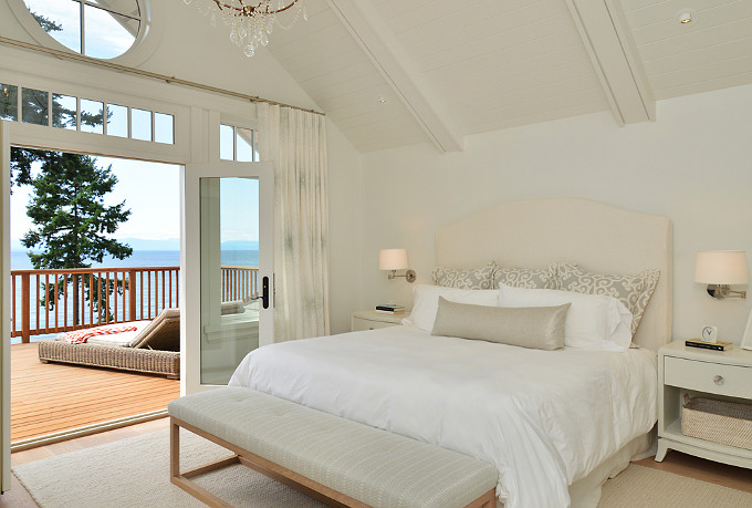 Master Bedroom with ocean view. Sunshine Coast Home Design.