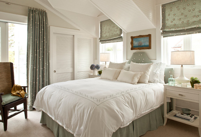Master Bedroom. Bedroom. The master bedroom is softened by touches of pale green fabric adorned with random dots. Paint color is Farrow and Ball Blackened. #bedroom #MasterBedroom Anne Michaelsen Design.