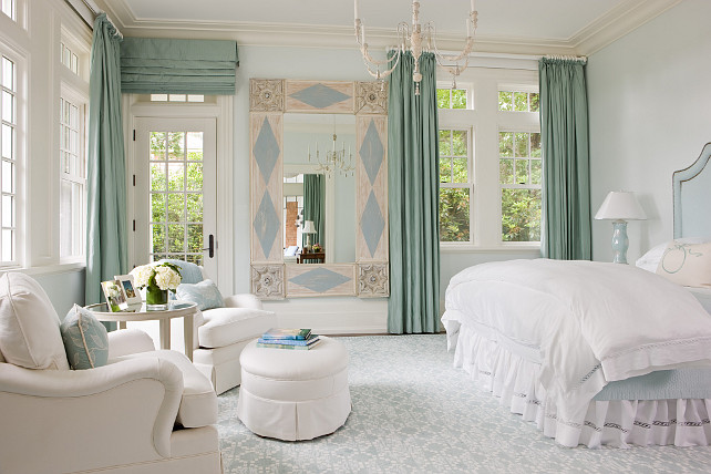 Master bedroom. Master bedroom with blue and turquoise accents. SLC Interiors.