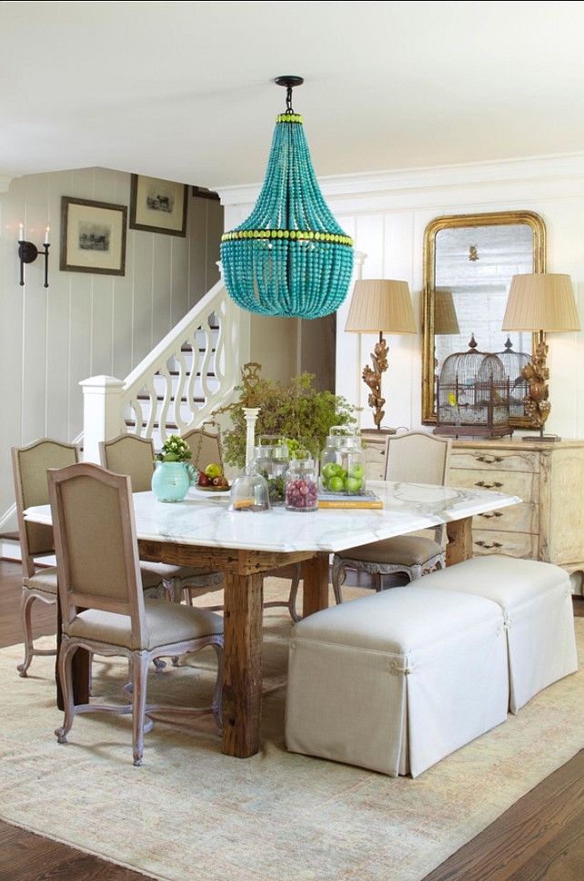 Dining Room Design. French Country Dining room. I am loving this dining room! Notice the table with marble top! #DiningRoom #FrenchInteriors #Interiors