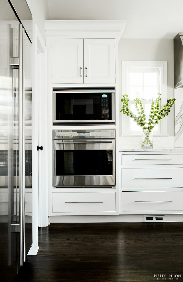 Microwave and wall oven. Kitchen Microwave and wall oven. Microwave and wall oven is flush with cabinet faces, providing an integrated look and feel to the kitchen. #kitchen #Microwave #walloven