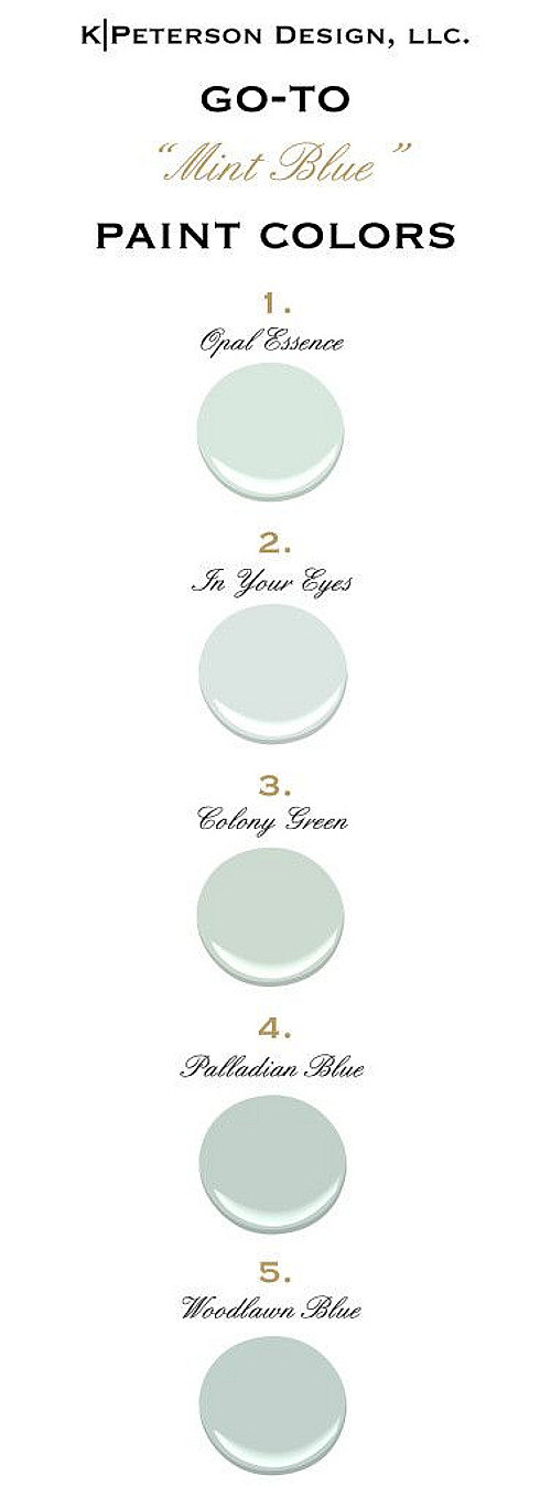 Mint Blue Paint Color Ideas. Mint Blue Color Palette. All Paint Colors are from Benjamin Moore. #ColorPalette #BenjaminMooreColorPalette Via kpetersondesign
