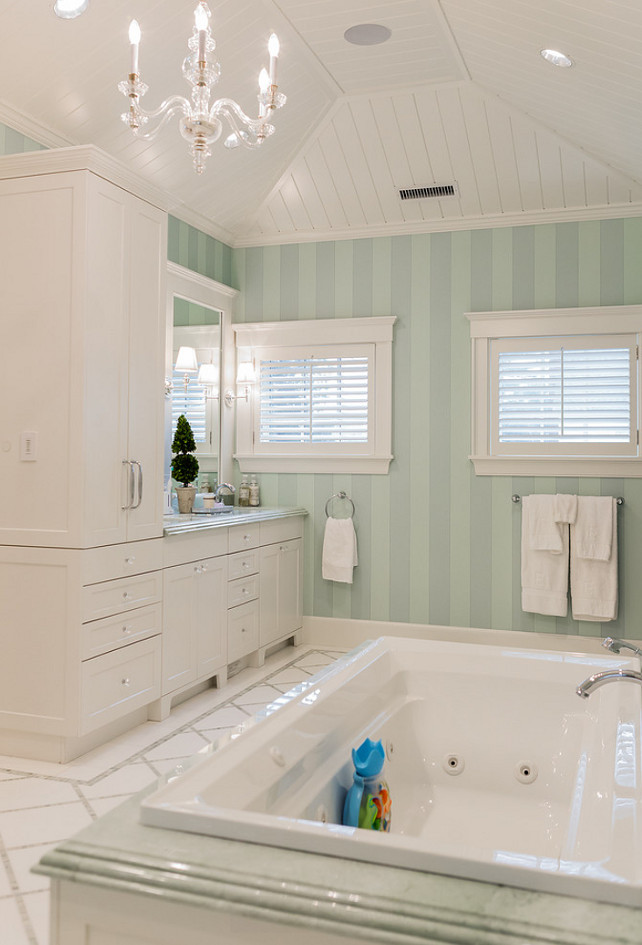 Mint Green Bathroom. Mint Green and White Bathroom. Mint Green Master Bathroom. #MintGreen #Bathroom Brookes and Hill Custom Builders.