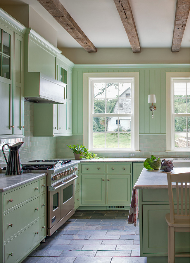 Mint Green Kitchen. Mint Green Kitchen Cabinet. Mint Green Kitchen Cabinet Paint Color. Mint Green Kitchen with slate tile flooring. #MintGreen #Kitchen Donald Lococo Architects.