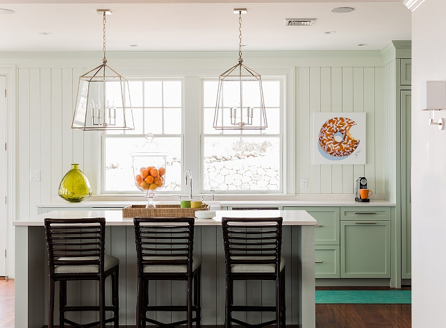 Mint Green Kitchen.  Mint Green Kitchen Paint Color. Mint Green Kitchen Ideas. Mint Green Kitchen Design. Mint Green Kitchen Cabinets. Mint Green Kitchen Color. Mint Green Kitchen with Regina Andrew Design Square Four Light Glass Lanterns. #MintGreenKitchen #Kitchen #MintGreen #ReginaAndrewSquareFourLightGlassLantern Jennifer Palumbo.