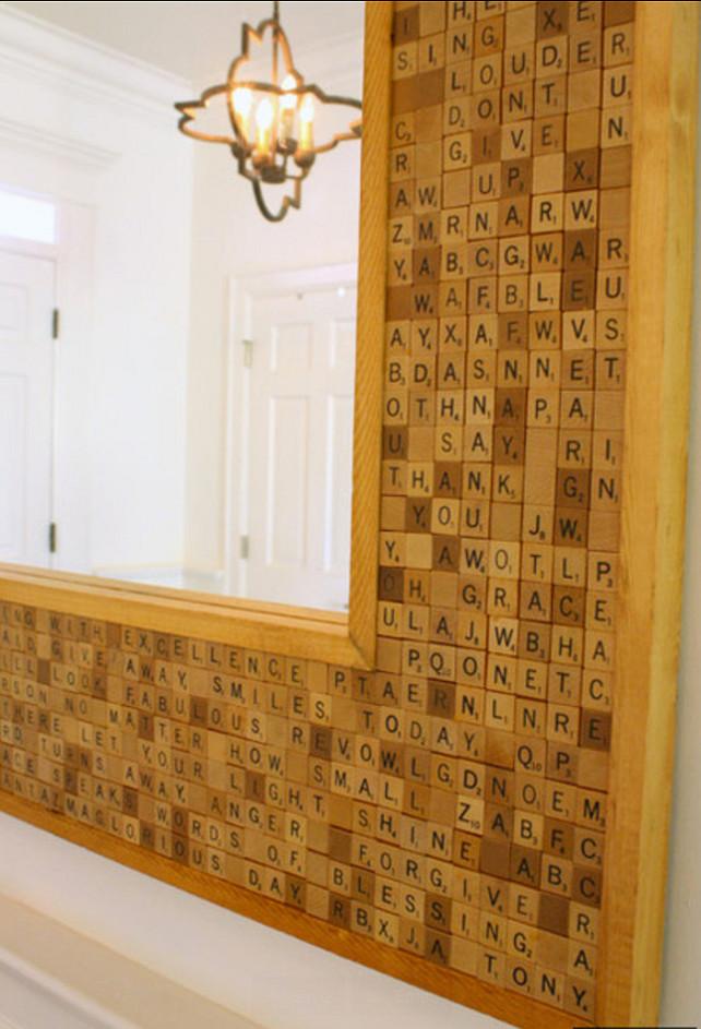 Mirror Ideas. DIY Scrabble Mirror. #Scrabble #DIYIdeas #ScrabbleDIY #ScrabbleProjetcs #ScrabbleMirror  The Blue Moon Trading Company.