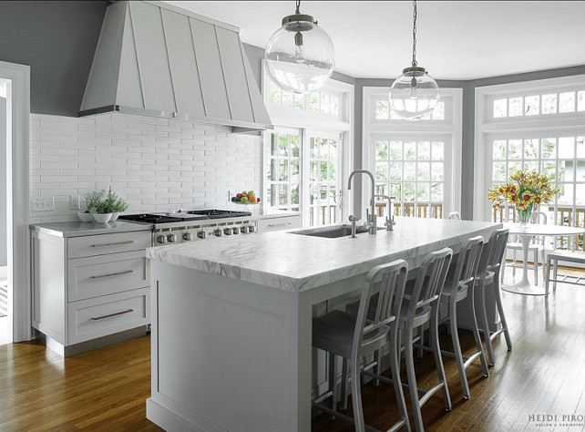 Modern Kitchen. Modern Gray Kitchen. Modern Kitchen, custom colored cabinetry, Wolf, Sub Zero, Stainless Counter tops. #Kitchen #KitchenIdeas #ModernKitchen #GrayKitchen  Heidi Piron Design & Cabinetry.