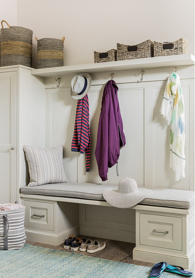 Mud Room. Mud room Bench Storage Ideas. Mud room with built-in bench and cabinet. #MudRoom Anita Clark Design.