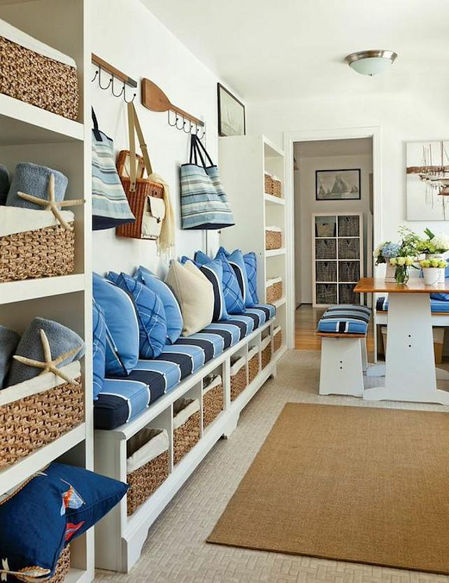 Mudroom Bench. Custom Mudroom Bench Ideas. Mudroom with storage bench and open shelf cabinets. #Mudroom #MudroomBench Barclay Butera.