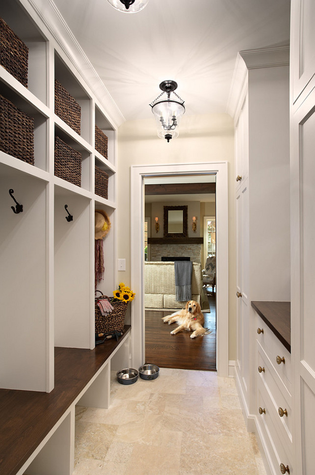 Mudroom Flooring Ideas. Mudroom Durable Flooring. Mudroom Tile Flooring. The mudroom tile is a honed Travertine, small Versailles pattern. #Mudroom #MudroomFlooring #Flooring #Travertine #HonedTravertine