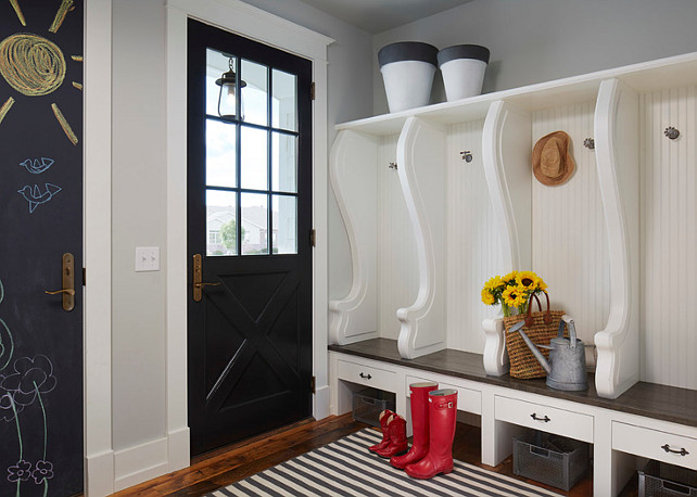 Mudroom Paint Color. Mudroom cabinet and wall paint color. Mudroom cabinet paint color is Benjamin Moore White Dove. Wall paint color is Benjamin Moore Gray Owl. #Mudroom #PaintColor Martha O'Hara Interiors.