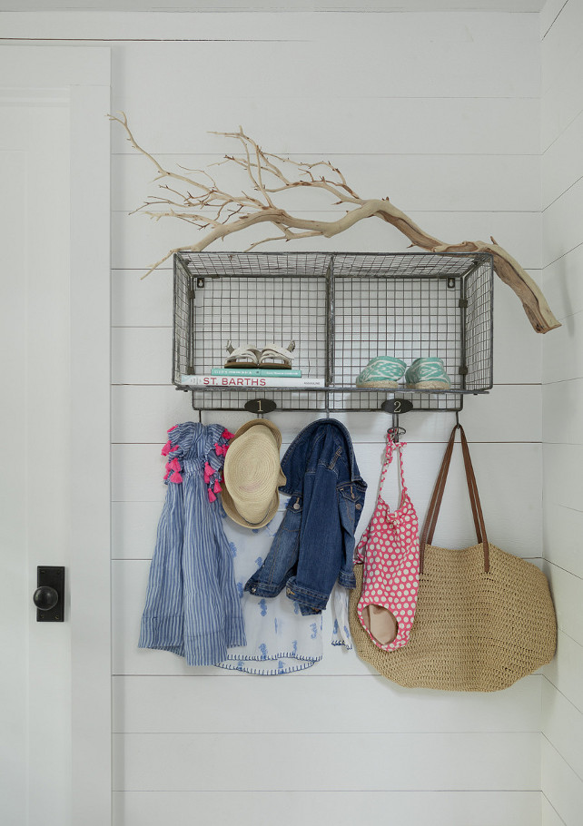 Mudroom storage. It's easy to add storage with these mudroom ideas. Storage was added to this mudroom in a very easy and affordable way. Love this simple idea. Wire Storage Rack: The Upper Rust. #Mudroom #Storage #MudroomIdeas Jenny Wolf Interiors