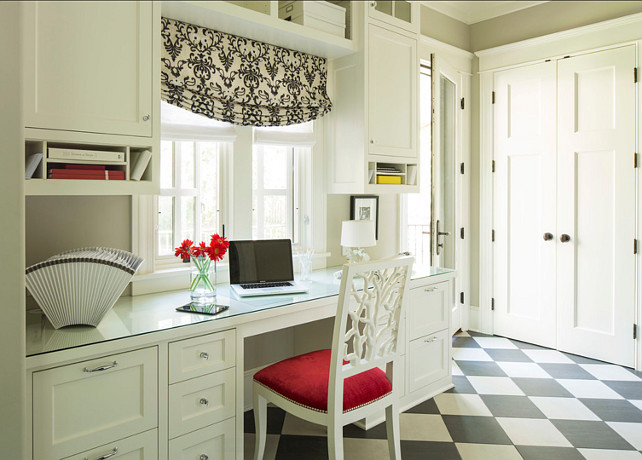 """Mudroom with desk. Great mudroom design with built-in desk. The chair is the """"Oly Studio Coral Dining Side Chair"""". #Mudroom #HomeOffice"""