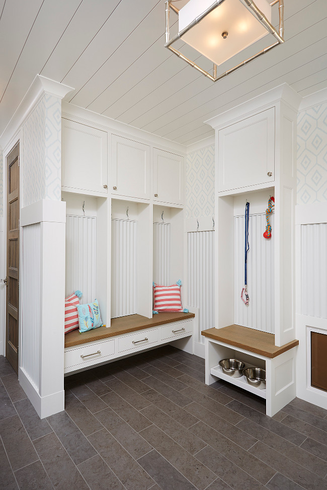 Mudroom with pull-out dog dishes. Mudroom Pet Ideas. #Mudroom #pets