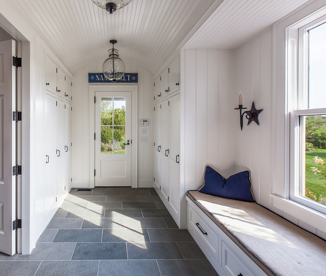 Mudroom. Mud Room. Mudroom with arched ceiling with beadboard. Mudroom flooring is bluestone with a thermaled top surface. #Mudroom #ArchCeiling #BeadboardCeiling #Bluestone #Mudroomdesign .