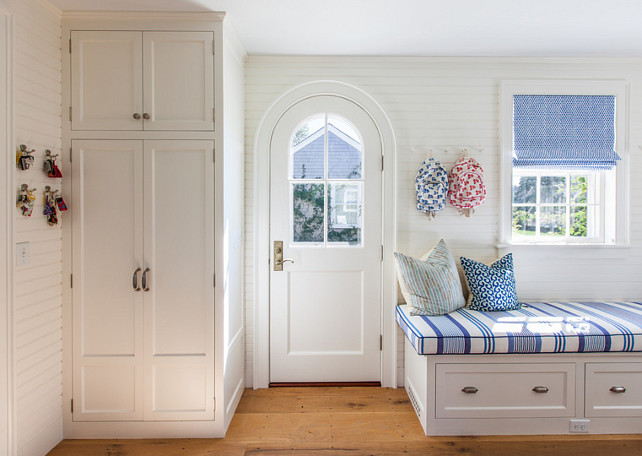 Mudroom. Mudroom Bench. Mudroom Cabinet. Mudroom Built-in Cabinet. Mudroom Door. Mudroom Window Treatment. Mudroom Fabric. Mudroom is paintend in White Dove by Benjamin Moore. #Mudroom