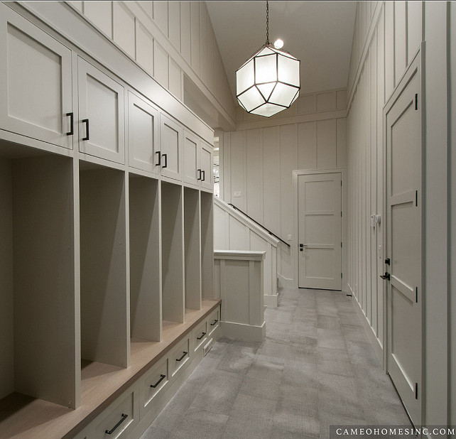 Mudroom. Mudroom Cabinet Ideas. Mudroom with lockers and drawers. #Mudroom Cameo Homes Inc.