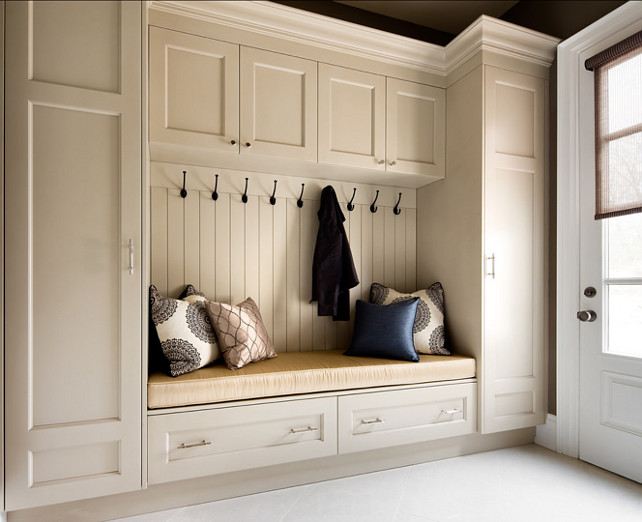 "Mudroom. Mudroom Design Ideas. Mudroom Cabinet. ""Benjamin Moore Winds Breath 981"". #MudroomIdeas #MudroomDesign #MudroomCabinetry Designed by Jane Lockhart."