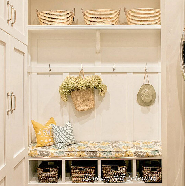 Mudroom. Mudroom Ideas. Mudroom Decor. Mudroom Baskets. Mudroom Design. Mudroom paint Color. #Mudroom Lindsay Hill Interiors.