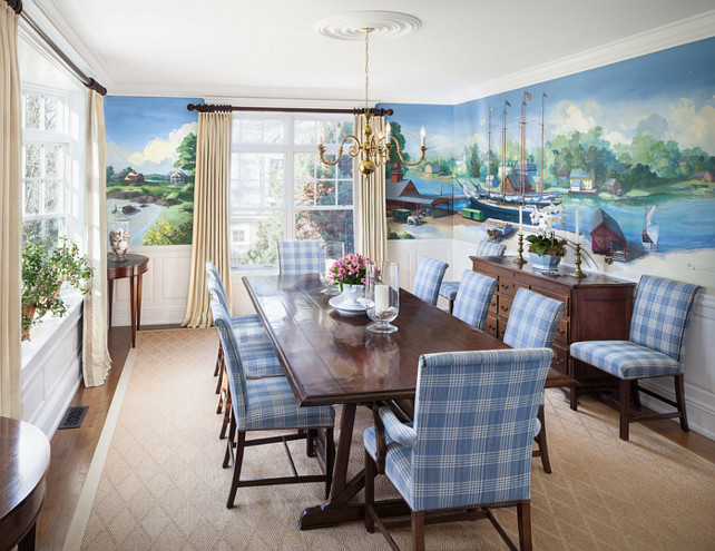 Mural. Dining Room with mural. Beautiful mural ideas. #Mural #Interiors #DiningRoomMural Irvin Serrano Photography, Hurlbutt Designs