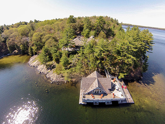 Muskoka Lake Cottage with Boathouse Arial View. #Muskoka #MuskokaCottage #MuskokaLakeCottage #Boathouse Via Muskoka Cottages for Sale.