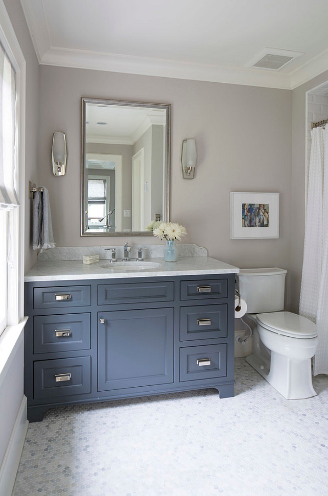 Top Pin: Bathroom Cabinet Paint Color. Navy Blue Cabinet Paint Color. Benjamin Moore French Beret 1610. Benjamin Moore French Beret. #Navy #PaintColor #NavyBlue #Cabinet #BenjaminMooreFrenchBeret Martha O'Hara Interiors. #TopPin #TopPinBathroomCabinet #TopPinBathroomCabinetPaintcolor