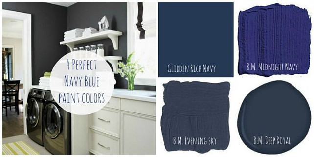 Navy Paint Color Ideas. Benjamin Moore Midnight Navy. Benjamin Moore Evening Sky. Benjamin Moore Deep Royal. Glidden Rich Navy #NavyBluePaintColor #NavyPaintColor