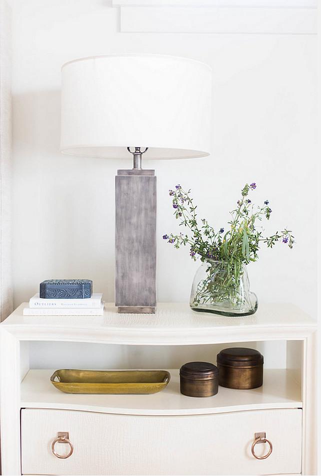 Nightstand. White nightstand. Bedroom white nighstand. #Bedroom #Nightstand #White #WhiteNightstand Ashley Winn Design.