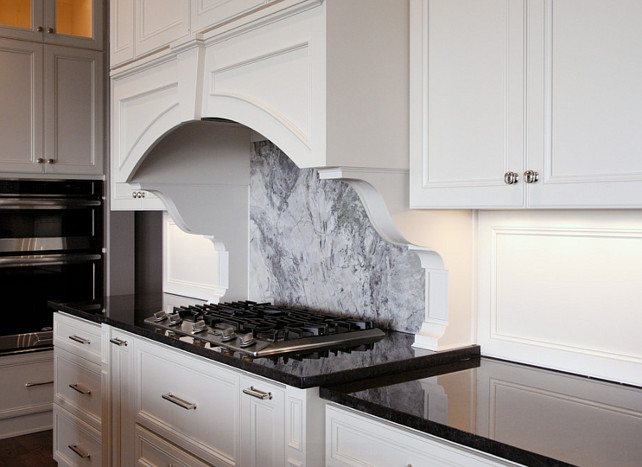Nordic Black Polished Granite Kitchen Countertop with Super White Quartzite Backsplash. Kitchen Countertop and Backsplah Combo Ideas. #KitchenCountertopBacksplash #NordicBlackPolishedGranite #SuperWhiteQuartzite CR Home Design K&B (Construction Resources)