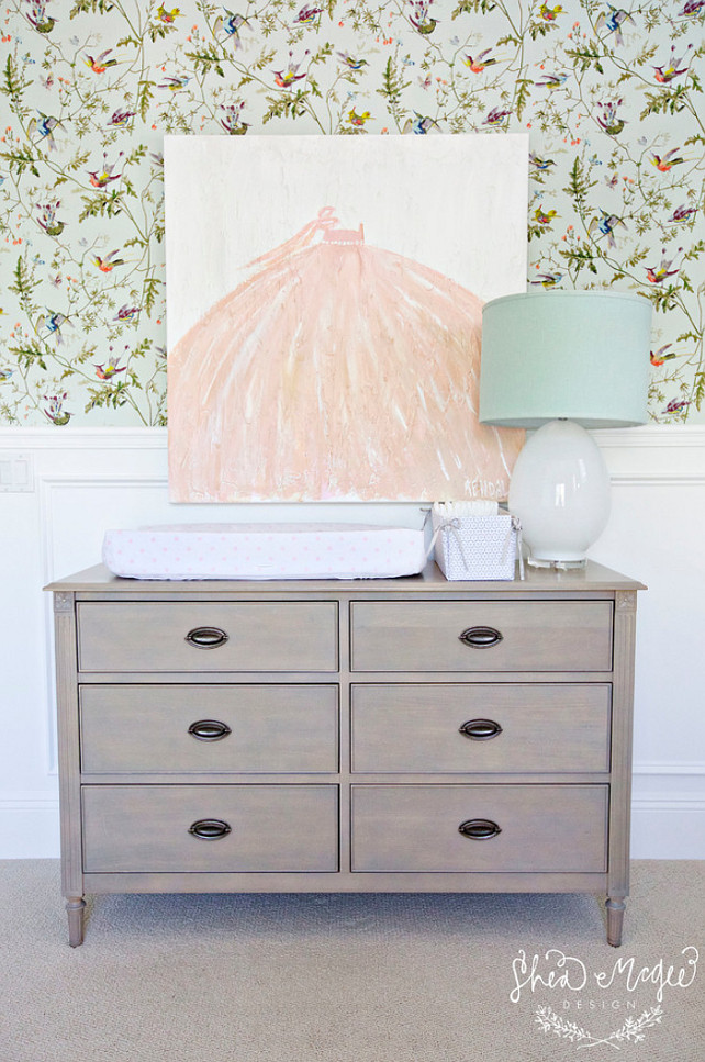Nursery Changing Station. Nursery changing table. #NurseryChangingTable #NurseryChangingTableIdeas #NurseryChangingStation Studio McGee. Art by Kendall Boggs