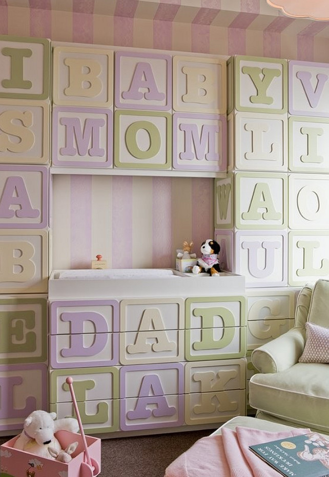 Nursery Ideas. Baby Girl Nursery Ideas. The blocks unit in this nursery was custom made specifically to fit the room by a local cabinetmaker. #NurseryIdeas #NurseryDesign #GirlNurseryDesign Terrat Elms Interior Design.