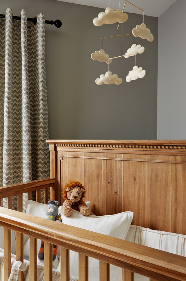 Nursery. Nursery crib is from Restoration Hardware. Nursery Mobile is from Restoration Hardware Baby & Child. Nursery drapery panels are Reilly Curtains the from Crate & Barrel. Elsie Interior.