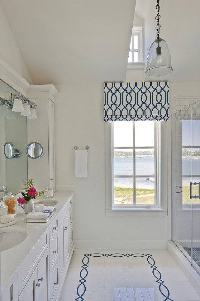 Ocean View Bathroom. Classic blue and white bathroom with ocean view. I love the affordable white subway tiles mixed with the navy blue custom tiles. #Bathroom #OceanView SLC Interiors.