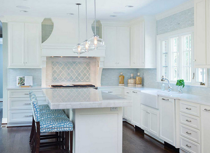 Off-white kitchen with turquoise accents. Profile Cabinet.