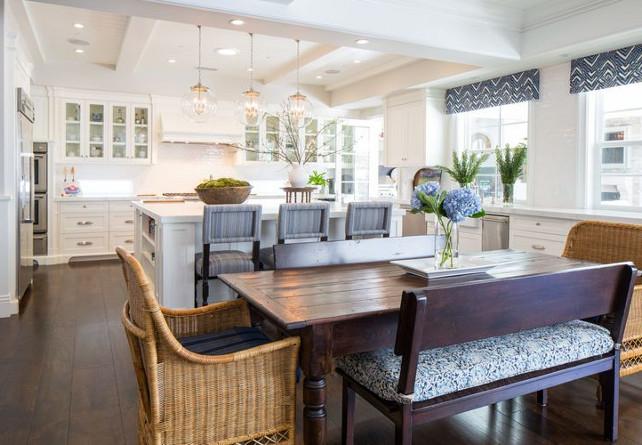 Open Coastal Kitchen. Open coastal kitchen with soft blue accents. #Coastal #Kitchen #WhiteKitchen #BlueAccents #Interiors Kelly Nutt Design.