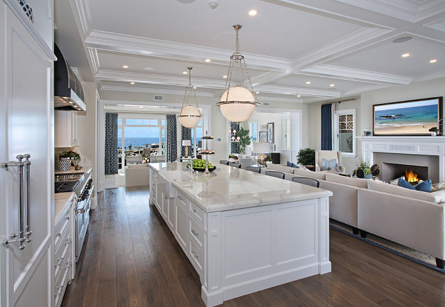 Statuario Extra marble countertop. Open Floor Kitchen Design. Open floor plan kitchen with Statuario Extra marble countertop. #OpenFloorKitchenDesign #openfloorplankitchen #StatuarioExtramarble #countertop Spinnaker Development.