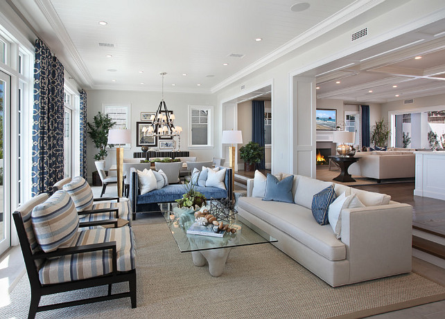 Open Floor Plan. Coastal Open Floor Plan Living Room, Dining Room and Kitchen. #OpenFloorPlan Spinnaker Development.