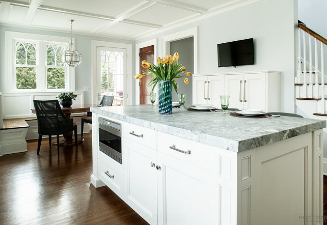 Open Kitchen. Kitchen Opens to Breakfast Nook. Open Kitchen Ideas #OpenKitchen #OpenKitchenLayout Heidi Piron Design.