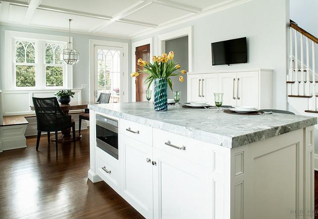 Open Kitchen. Kitchen Opens to Breakfast Nook. Open Kitchen Ideas #OpenKitchen #OpenKitchenLayout Heidi Piron Design.