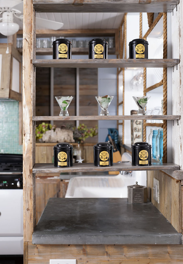 Open Shelves. Custom-made shelving with rustic wood cabinet and open shelving. #OpenShelves #Rustic #Wood OUTinDesign.