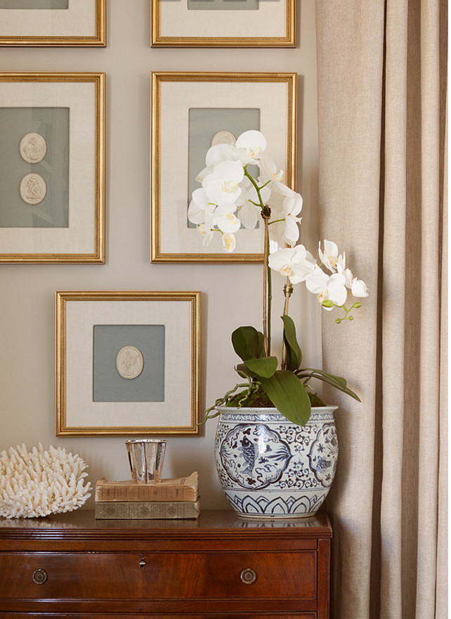 Orchid. White orch. Traditional interiors with white orchid. #WhiteOrchid #Orchid #Interiors  Jenny Wolf Interiors.