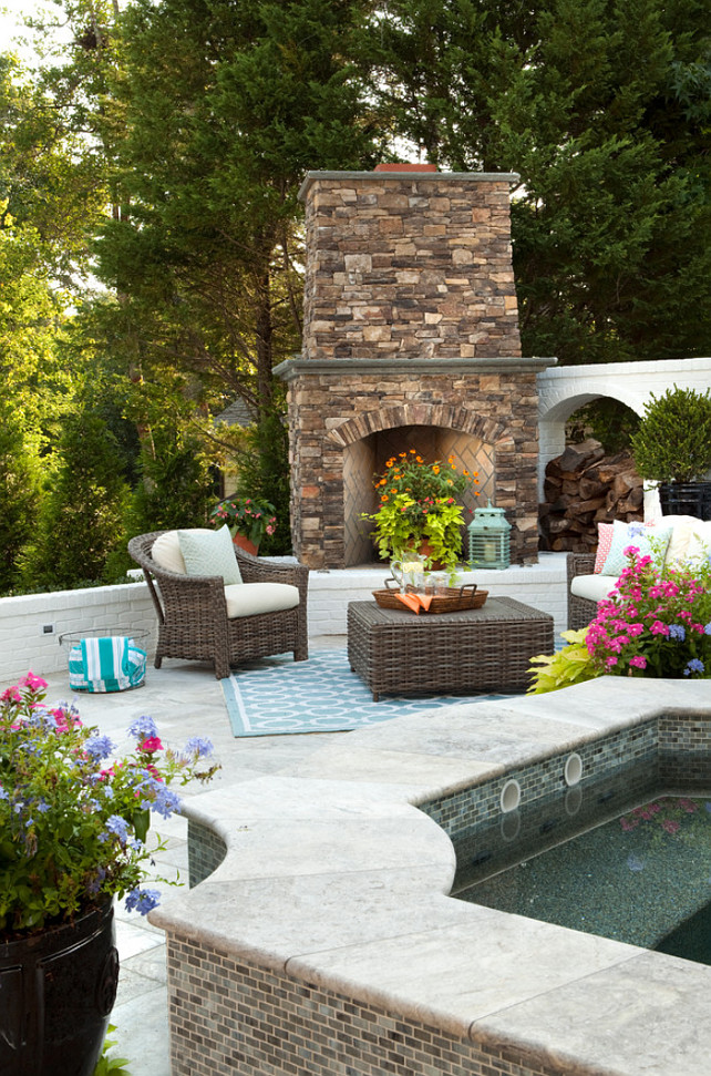 Outdoor Fireplace. Backyard with Outdoor Fireplace. Patio with outdoor fireplace and hot tub. #Backyard #Fireplace #outdoorFireplace #HotTub  Tongue & Groove Custom Builders.