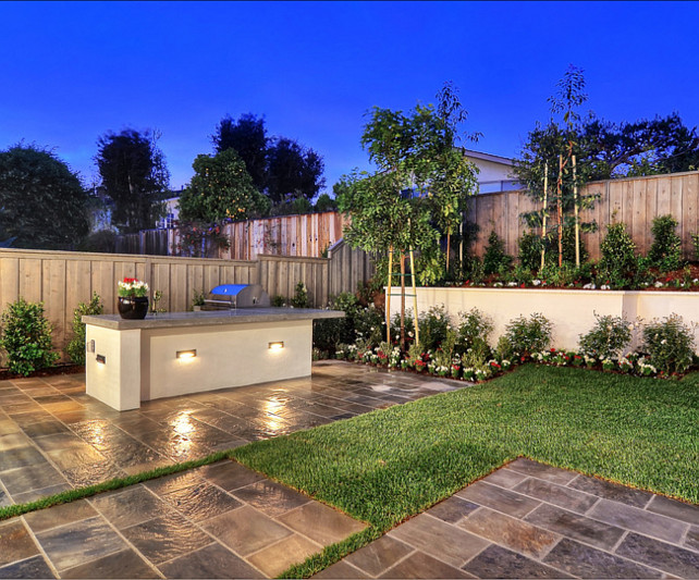 Outdoor Kitchen Ideas A Custom Built In Area Including Barbeque And Bar With Garden Bbq