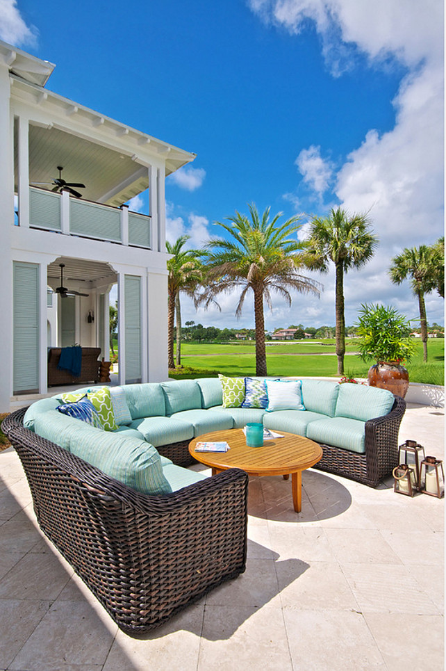 Outdoor Sofa. Outdoor Sectional with turquoise fabric. #OutdoorSofa #OutdoorSectional #OutdoorFabric #Turquoise Cronk Duch Architecture.