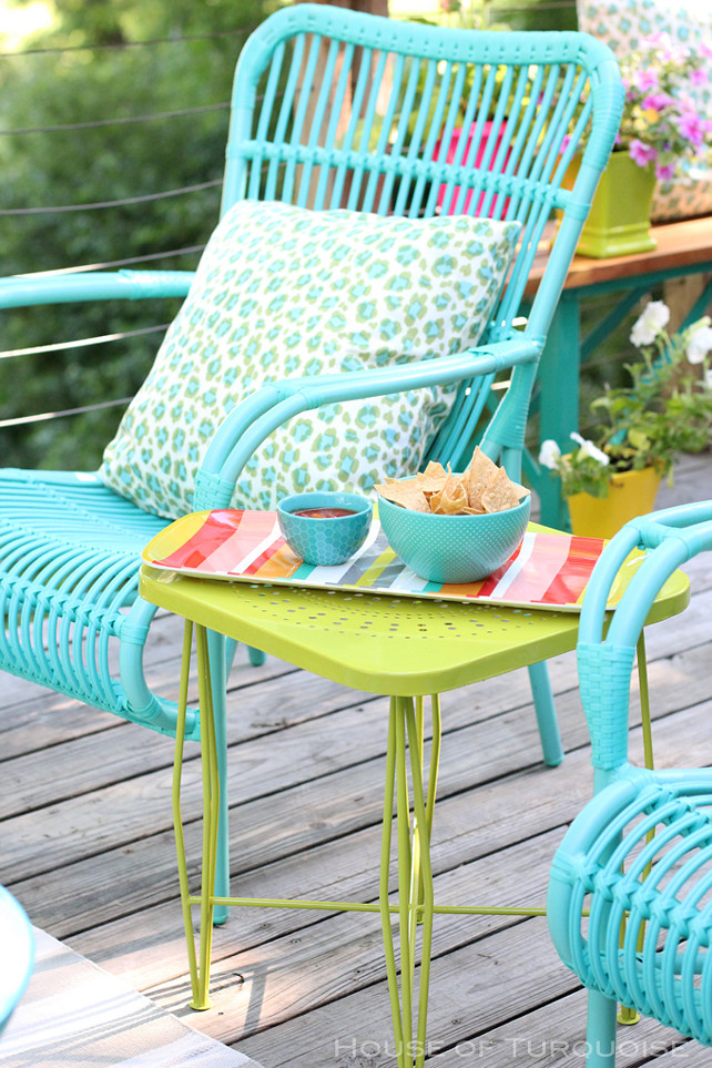 Outdoor decorating ideas. Decorate your patio with bright colors such as turquoise and lime. #OutdoorDecoratingIdeas #Turquoise #Lime #ColorfulOutdoorFurniture House of Turquoise.