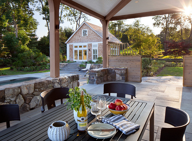 Outdoor living area with pool, covered patio and pool house. Anthony Crisafulli Photography. Gale Goff Architect.