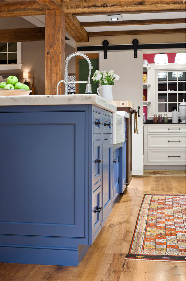 "Painted Kitchen Island Ideas. The island in this kitchen is painted ""Benjamin Moore Blue Heron 832"". #BenjaminMoore #BlueHeron #832"