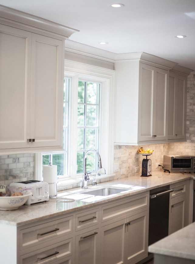 Pale Gray Kitchen Cabinet Paint Color. Palet Gray Kitchen. Kitchen with custom painted pale gray cabinets. #Kitchen #GrayKitchen #PaleGrayKitchen #PaleGray #PaleGrayKitchenPaintColor John Johnstone.