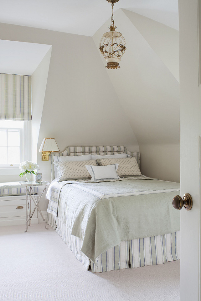 Pale Oak Benjamin Moore. The bedroom paint color is Benjamin Moore Pale Oak. #BenjaminMoorePaleOak Anne Hepfer Designs.