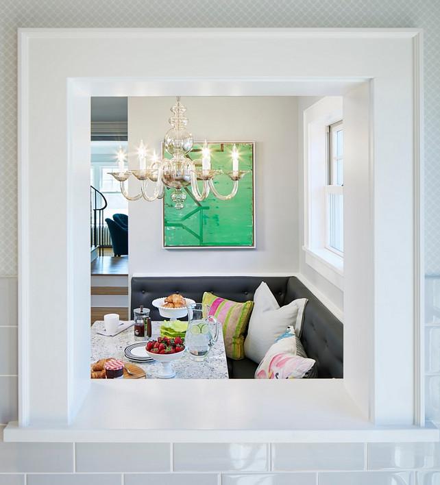 Pass-through window. Indoor Pass-through window. Kitchen to eating nook Pass-through window. #BreakfastNook #Passthroughwindow Martha O'Hara Interiors.